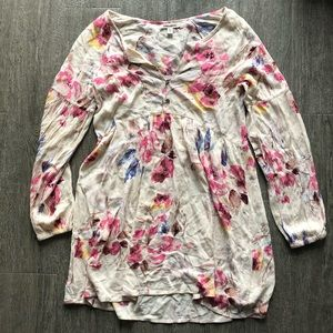 billabong floral cream long sleeve dress